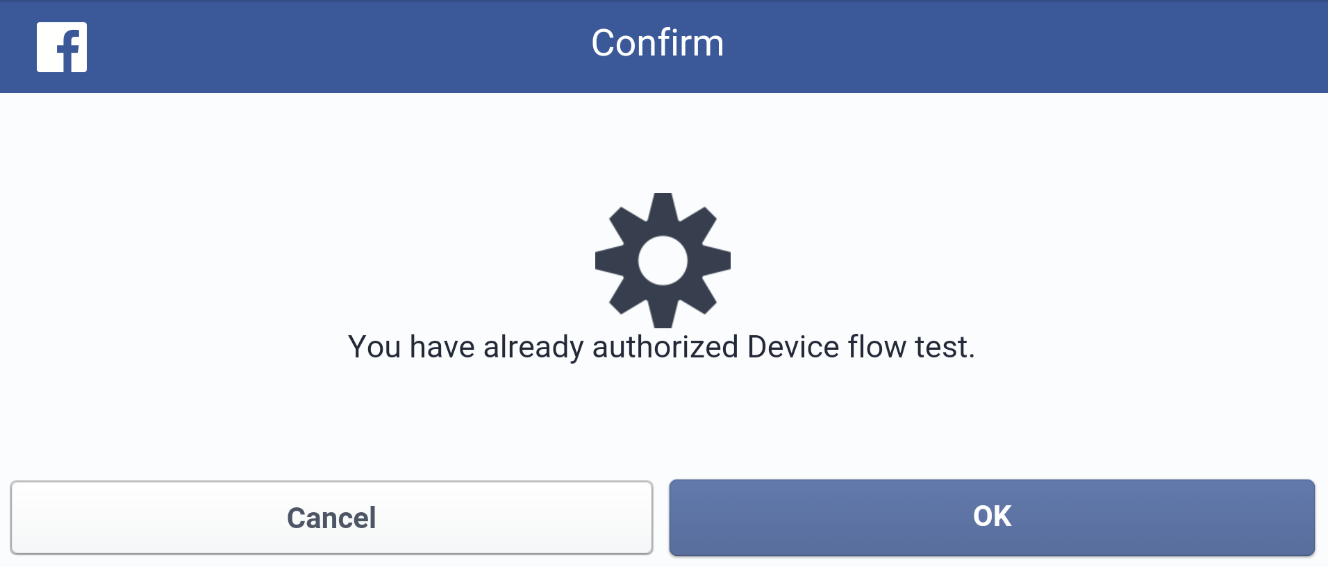 Facebook device flow re-confirmation