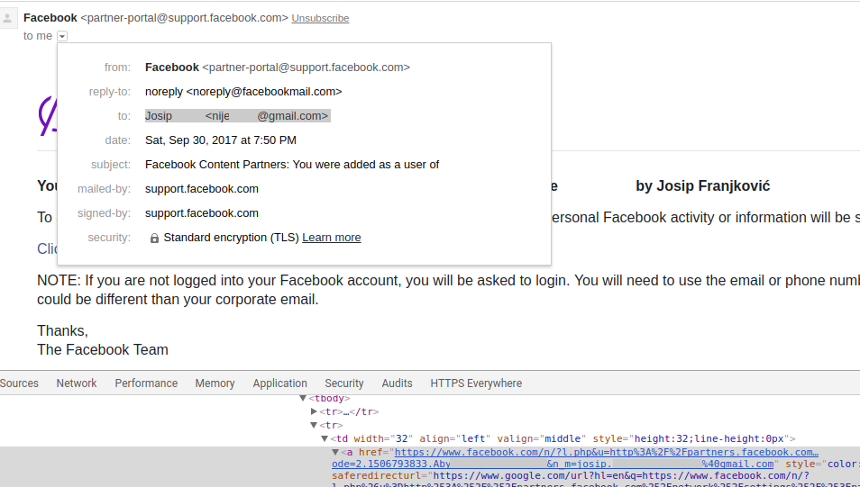 Facebook Partners email leak